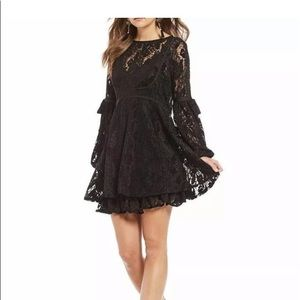 NWT Free People crotchet mini black dress sz S
